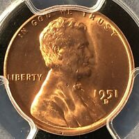 1951-D 1C RD LINCOLN WHEAT ONE CENT  PCGS MINT STATE 65RD                  27495712