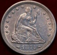 1874 S SAN FRANCISCO MINT SILVER SEATED LIBERTY QUARTER WITH ARROWS
