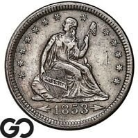 1853 SEATED LIBERTY QUARTER ARROWS & RAYS CHOICE XF   BETTER DATE