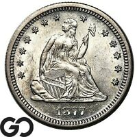 1877 S SEATED LIBERTY QUARTER NICE MINT LUSTER BRILLIANT UNCIRCULATED