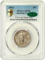1916 STANDING LIBERTY 25C PCGS/CAC EXTRA FINE 40 - FAMOUS KEY DATE - FAMOUS KEY DATE