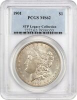 1901 $1 PCGS MINT STATE 62 EX: STP LEGACY COLLECTION - MORGAN SILVER DOLLAR -  DATE