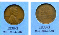 LINCOLN HEAD WHEAT CENT 1936 S AVERAGE CIRCULATED UNITED STATES 1 PENNY COIN B4