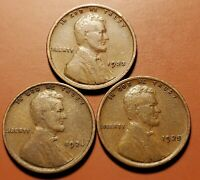 1923 P 1924 P 1925 P  LINCOLN WHEAT CENT 3 COIN SET H2145
