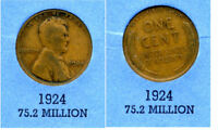 LINCOLN HEAD WHEAT CENT 1924 P AVERAGE CIRCULATED UNITED STATES 1 PENNY COIN B4