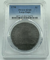 1798 PCGS EXTRA FINE 40 DRAPED BUST DOLLAR LARGE EAGLE