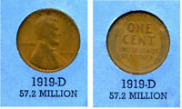 LINCOLN HEAD WHEAT CENT 1919 D AVERAGE CIRCULATED UNITED STATES 1 PENNY COIN B4