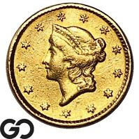 1850 DOLLAR PIECE $1 GOLD LIBERTY TYPE 1 DETAILS CLEANED