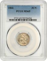 1866 3CN PCGS MINT STATE 65 - 3-CENT NICKEL
