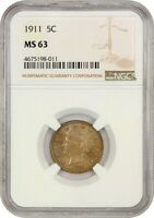 1911 5C NGC MINT STATE 63 - LIBERTY V NICKEL
