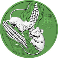 AUSTRALIA 2020 1$   YEAR OF THE MOUSE   SPACE GREEN   1 OZ S