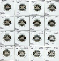 CANADA LOT OF 16 DIFFERENT PROOF 5C   1981 2008