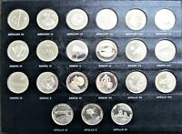 SET OF 21 SILVER MEN IN SPACE MEDALS   DANBURY MINT
