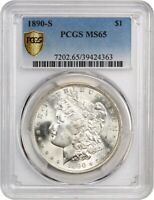 1890-S $1 PCGS MINT STATE 65 - FLASHY - MORGAN SILVER DOLLAR - FLASHY