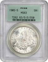1902-S $1 PCGS MINT STATE 63 OGH OLD GREEN LABEL HOLDER - MORGAN SILVER DOLLAR