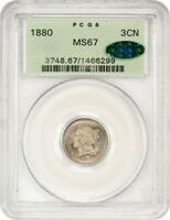 1880 3CN PCGS/CAC MINT STATE 67 OGH - OLD GREEN LABEL HOLDER - 3-CENT NICKEL