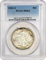 1941-S 50C PCGS MINT STATE 64 - WALKING LIBERTY HALF DOLLAR - COLORFUL PERIPHERAL TONING
