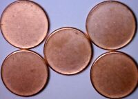 5 PCS. BLANK UNSTRUCK ERROR BU LINCOLN CENT PLANCHET   5 COI
