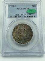 1928-S PCGS & CAC MINT STATE 64 WALKING LIBERTY SILVER HALF DOLLAR COLORFUL TONING