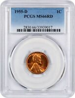 1955-D 1C PCGS MINT STATE 66 RD - LINCOLN CENT