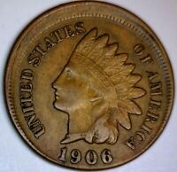 1906 ERROR OFF CENTER INDIAN HEAD CENT AU COIN   NICE 100  O