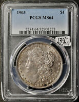 1903 MORGAN SILVER DOLLAR.  IN PCGS HOLDER.  MINT STATE 64.  G694