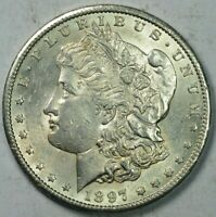 1897 S MORGAN SILVER $1 DOLLAR ABOUT UNCIRCULATED AU