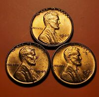 1948 P 1949 P S LINCOLN WHEAT CENT UNC 3 COIN SET H2548