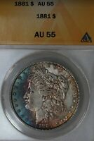 1881 - $1  AU 55 , ANACS, MORGAN SILVER DOLLAR, MISS LIBERTY HEAD DOLLAR $1