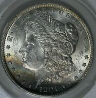 1881 O - $1  MINT STATE 62, ANACS, MORGAN SILVER DOLLAR, MISS LIBERTY HEAD DOLLAR $1