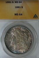 1881 - $1  MINT STATE 64, ANACS, MORGAN SILVER DOLLAR, MISS LIBERTY HEAD DOLLAR $1