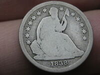 1838 SEATED LIBERTY SILVER DIME- GOOD DETAILS, LARGE STARS