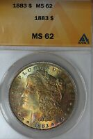 1883 $1 MINT STATE 62, ANACS, MORGAN SILVER DOLLAR, MISS LIBERTY HEAD DOLLAR $1