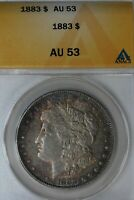 1883 $1 AU 53, ANACS, MORGAN SILVER DOLLAR, MISS LIBERTY HEAD DOLLAR $1
