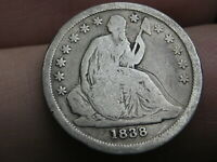 1838 SEATED LIBERTY SILVER DIME- VG/FINE DETAILS, LARGE STARS