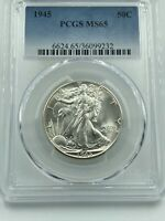 1945-P PCGS MINT STATE 65 WALKING LIBERTY SILVER HALF DOLLAR FROSTY LUSTROUS COIN