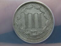 1880 THREE 3 CENT NICKEL- ANACS CERTIFIED, VF DETAILS