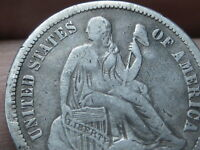 1876-CC SEATED LIBERTY SILVER DIME, VF OBVERSE DETAILS