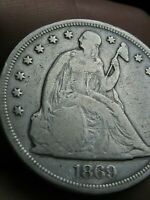 1869 SEATED LIBERTY SILVER DOLLAR- VG/FINE DETAILS