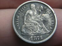 1875 P SEATED LIBERTY DIME- VF/EXTRA FINE  DETAILS
