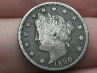 1890 LIBERTY HEAD V NICKEL 5 CENT PIECE- FINE DETAILS
