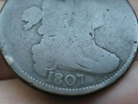 1807 DRAPED BUST LARGE CENT PENNY, FULL DATE