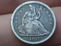 1838 P SEATED LIBERTY SILVER DIME- FINE/VF DETAILS, PARTIAL DRAPERY