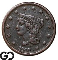 1840 LARGE CENT BRAIDED HAIR EARLY COLLECTOR COPPER