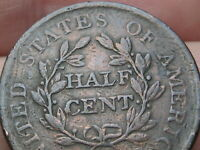 1806 DRAPED BUST HALF CENT- FINE/VF DETAILS, SMALL 6, STEMLESS