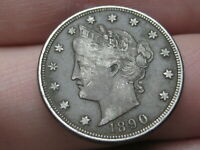 1890 LIBERTY HEAD V NICKEL 5 CENT PIECE, EXTRA FINE  DETAILS