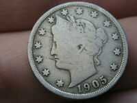 1905 LIBERTY HEAD V NICKEL 5 CENT PIECE- VG/FINE DETAILS, FULL RIMS