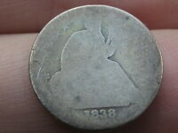 1838 P SEATED LIBERTY SILVER DIME- LOWBALL, HEAVILY WORN