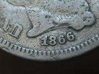 1866 THREE 3 CENT NICKEL- OLD TYPE COIN, FULL DATE