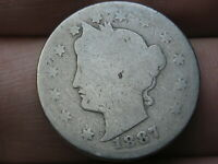 1887 LIBERTY HEAD V NICKEL- ABOUT GOOD DETAILS, FULL DATE